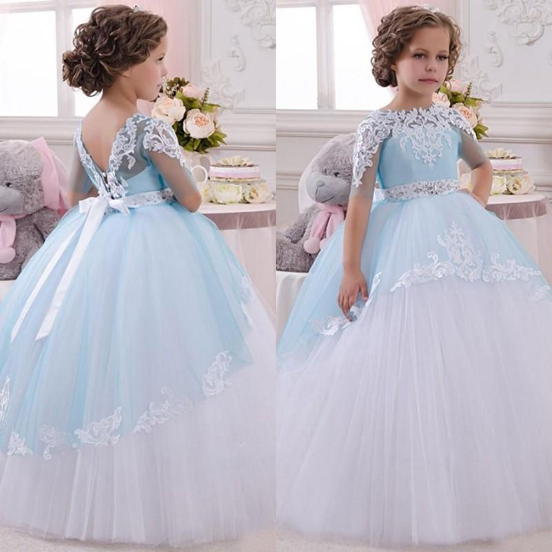2016 Gorgeous Girls Wedding Dresses Blue White Ivory Puffy Illusion Short Sleeves Lace Appliques Tulle Little Bride Gown Beaded Belt Flower Girl