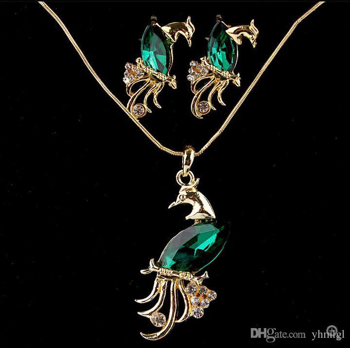 حار بيع الكريستال النمساوي قلادة الطاووس 18 كيلو مطلية بالذهب necklaceearrings مجموعة أنيقة خمر مجموعات مجوهرات للنساء