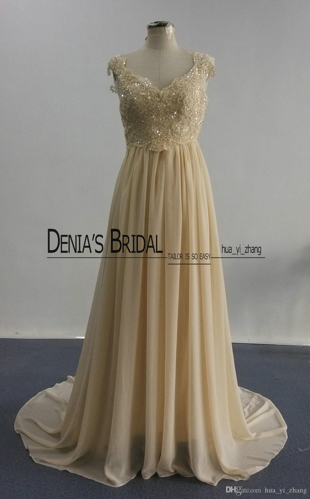 Beach Wedding Dresses 2016 Real Images A Line Cap Sleeves V Neckline Beaded Lace Appliques Court Train Vintage Backless Bridal Gowns