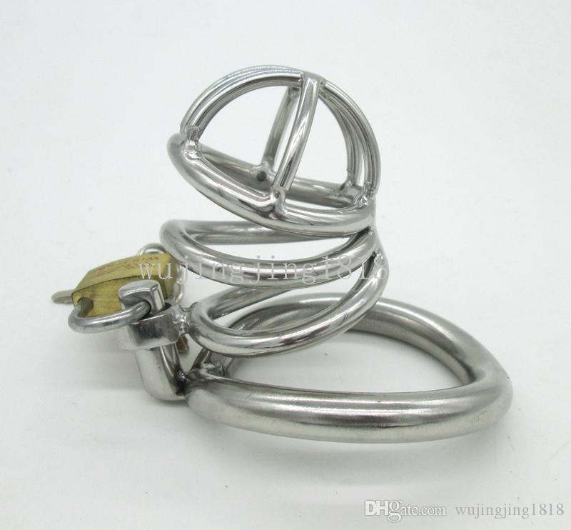 Pequeño dispositivo de castidad masculino de acero inoxidable jaula de gallo adulto con anillo de gallo de la curva juguetes sexuales para hombres Bondage cinturón de castidad