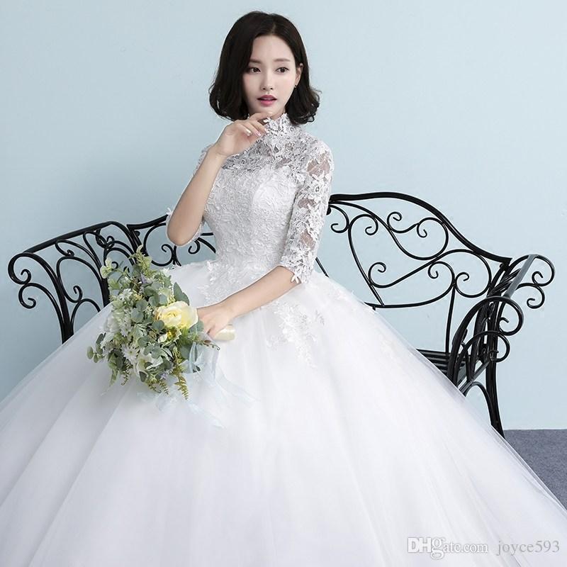 Vestidos De Novia Elegant High Neck Cut Out Lace Embroidery Half Sleeve Wedding Dresses 2017 Backless White Princess Ball Gown X Pretty Tea Length