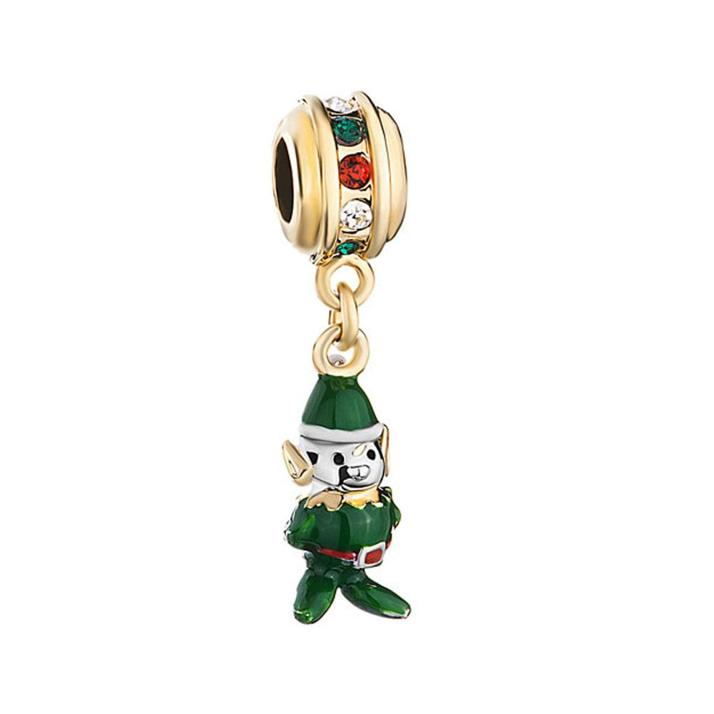 Green Enameled Christmas Elf Dangle Spacers metal slide bead European spacer charm fit Pandora Chamilia Biagi charm bracelet