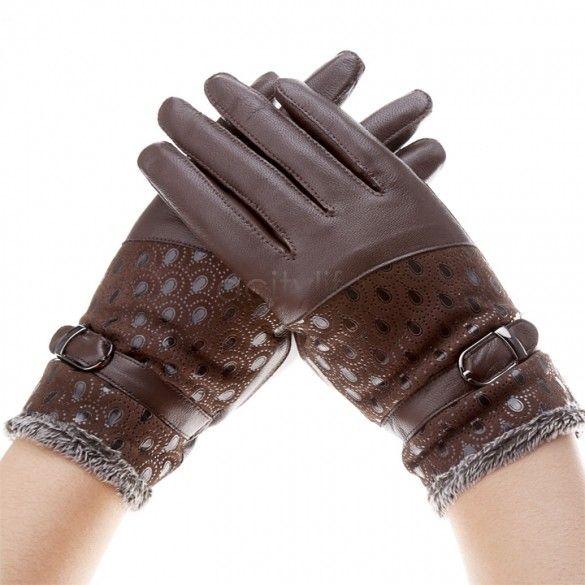 2018 Cheap Warm Wrist Winter Mittens Women Leather Gloves