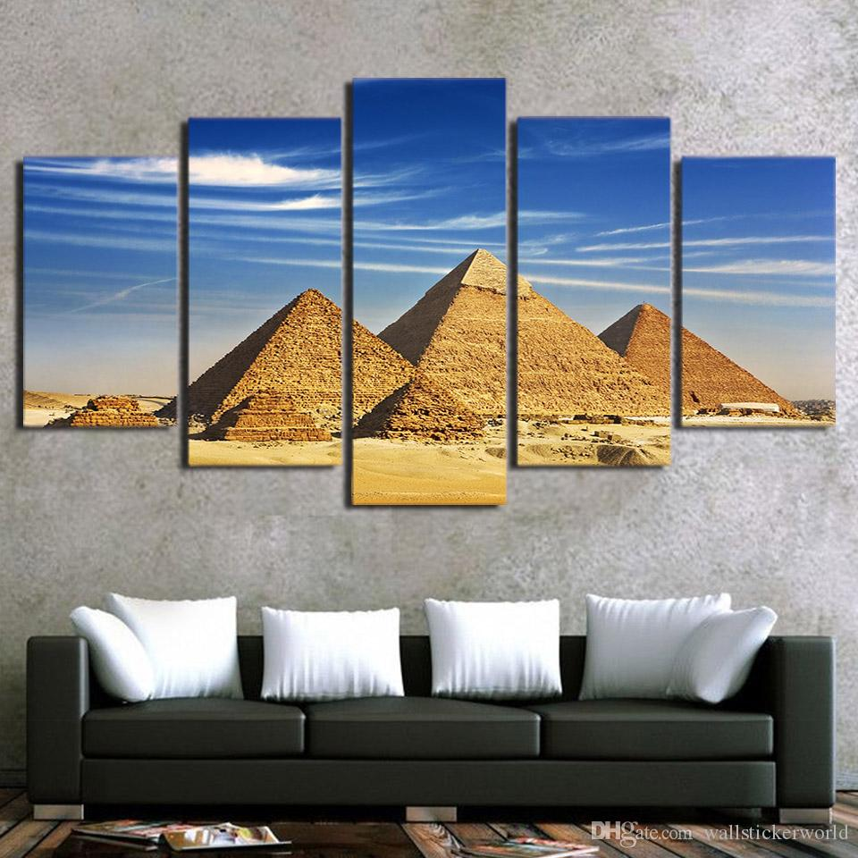 5 Panel Egypt Pyramid Landscape HD Printed Wall Art Picture Modern Home Decor Living Room Framed Canvas Painting
