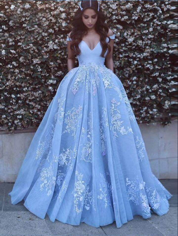 Hermoso bebé azul vestidos de baile con apliques de encaje del piso del hombro Longitud formal elegante vestidos del partido PD1123