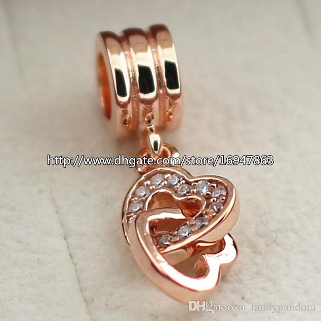 100% S925 argent sterling et plaqué or rose entrelacé amour perle de charme s'adapte aux bijoux européens Pandora bracelets colliers pendentif