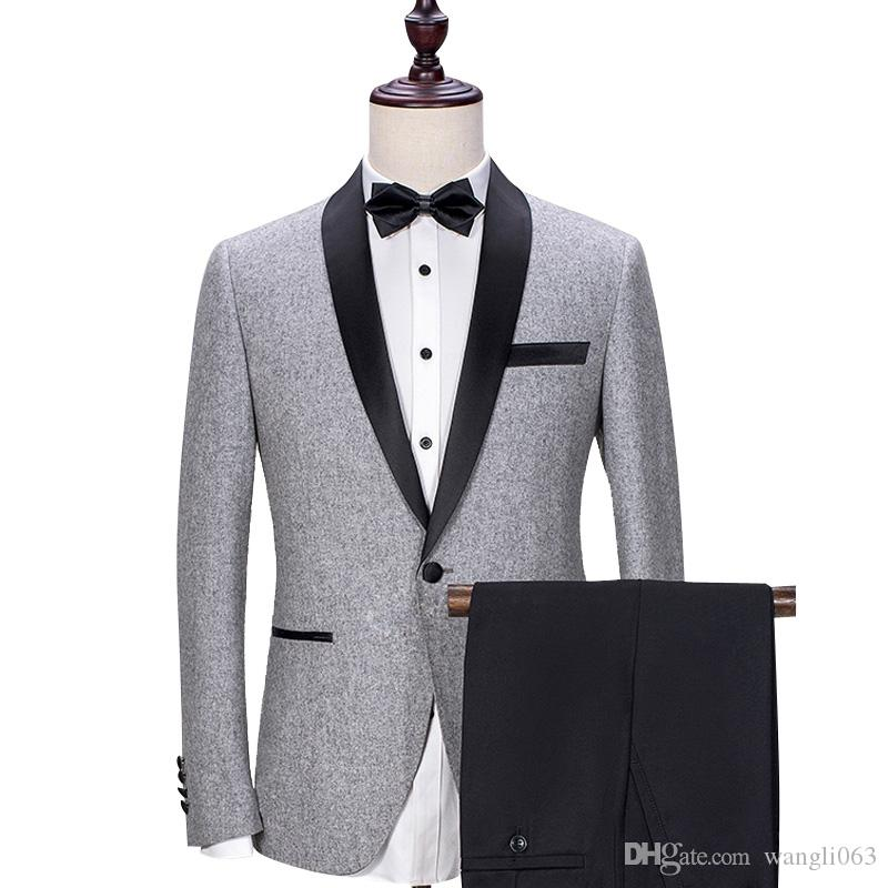 Gray Wedding Groom Tuxedos 2018 Black Shawl Lapel Trim Fit Mens Suits Custom Made Business Party Groomsmen Suit Jacket + Pants