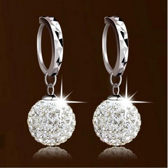 Österreichischen Kristall Baumeln Ohrringe Strass Disco Ball Ohrschmuck 925 Sterling Silber Ohrringe für Hochzeit Brandneue