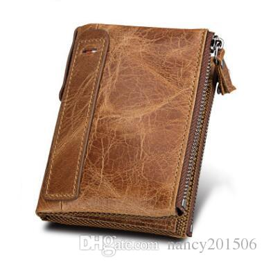 Women Men RFID Wallet Oil Wax Leather Coin Bags Card Holder Satchel Clutch Purse