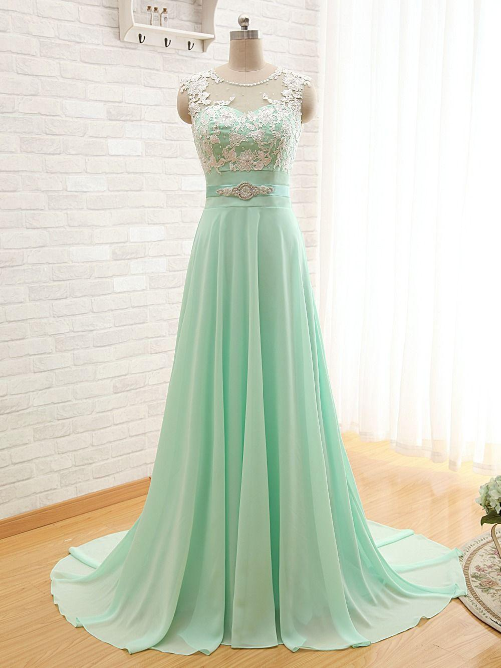 Mint lace chiffon long bridesmaid dresses scoop floor length full see larger image ombrellifo Image collections