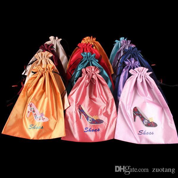 Mode bunk kvinnor resor skor täcker lagringsäck silke broderi dragsko gåva förpackning 10st / mix färgfri frakt