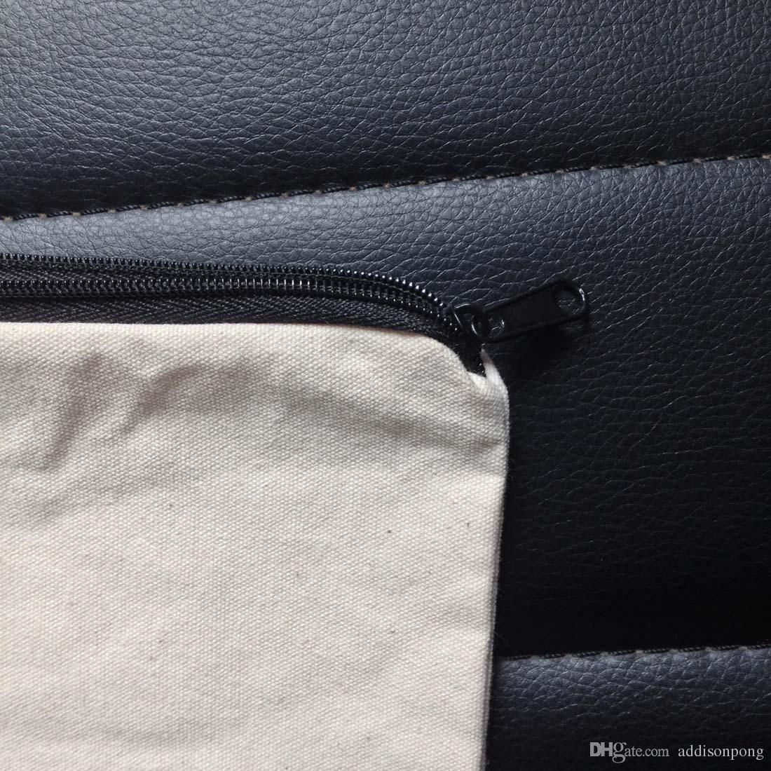 100 stks / partij Plain Natural Light Ivory Color Pure Cotton Canvas Portemonnee met Black Rits Unisex Casual Portemonnee Blanco Katoen Pouch