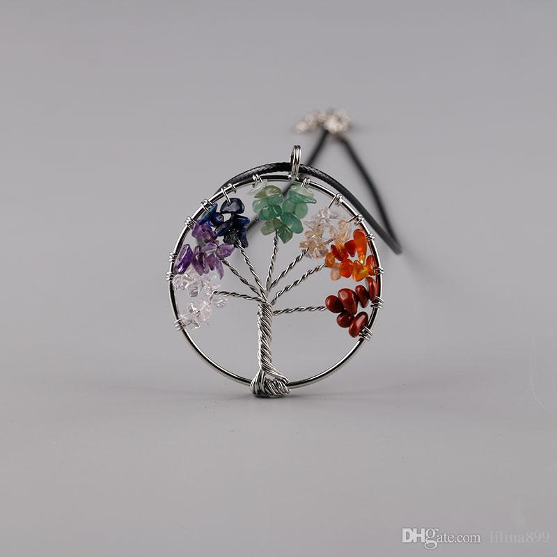 Mujeres arco iris 7 Chakra amatista árbol de la vida fichas de cuarzo colgante collar árbol multicolor de la sabiduría collar de piedra natural