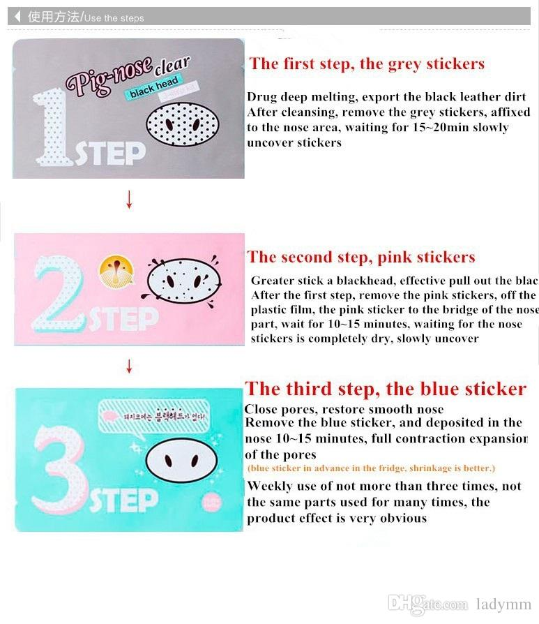 DHL Fast shipping Holika Pig Nose Clear Black Head Perfect Sticker 3 steps Clear Black Head Mask Blackhead Remover