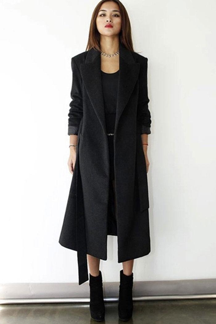 Long A-Line Coat: Cold weather is no match for this long, figure-flattering outerwear.A-line coat boasts a warm wool blend and is fully lined for quality. Back vent for ease, two side-seam pockets, button closure and button detail at cuffs.