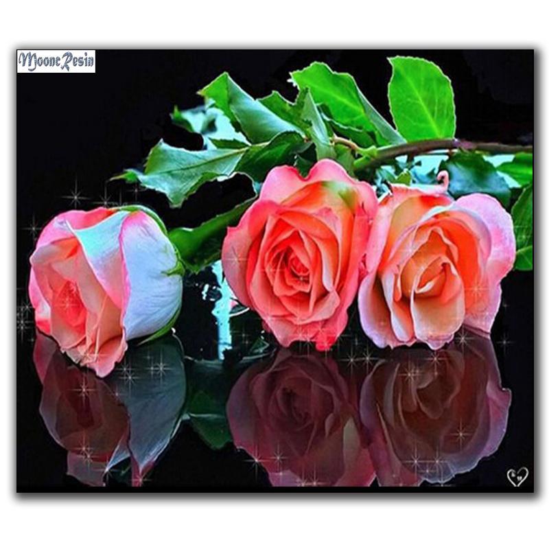 Satın Al Mooncresin Diy Elmas Boyama çapraz Dikiş Kırmızı Gül çiçek
