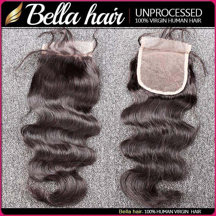 Bella Hair® 8A Paquetes de cabello brasileño con cierre 8-30 Extensiones de cabello humano de doble pierna Tejidos para el cabello Cierre Onda corporal Julienchina ondulada