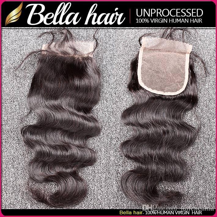 بيلا Hair® البرازيلي حزم الشعر مع اختتام 8-30 مزدوجة اللحمة الإنسان ملحقات الشعر الحياكة إغلاق جسم موجة متموجة Julienchina