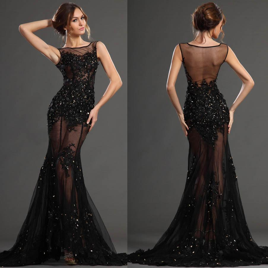 Mermaid Lace Evening Dresses 2015 Alluring Sheer High Neck Crystal ...