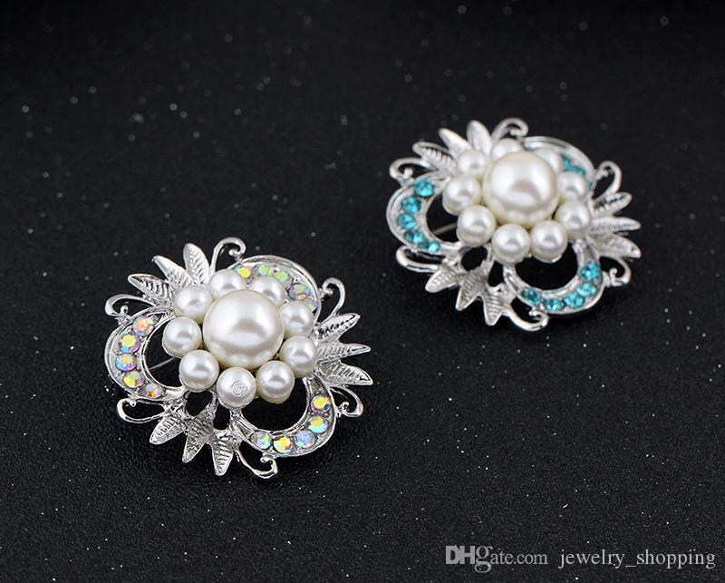 Fashion Alloy Imitation Pearl Crystal petals Rhinestone Brooch Luxury Women Dresses Flowers Brooches Pins Scarf clips accessories