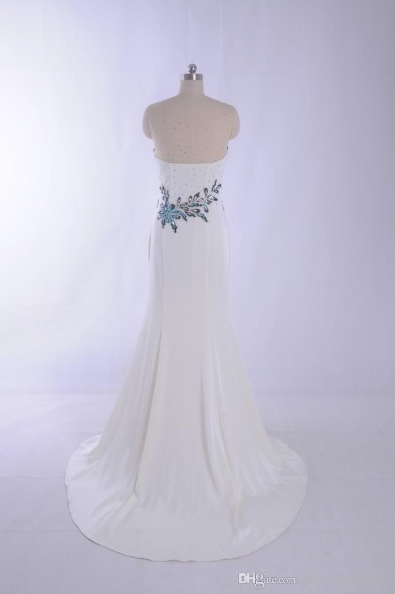 Sheer Neck Prom Dress Real Picture 100% Sparking Crystal party Gowns Vestidos de Festa White Mermaid Evening Dress