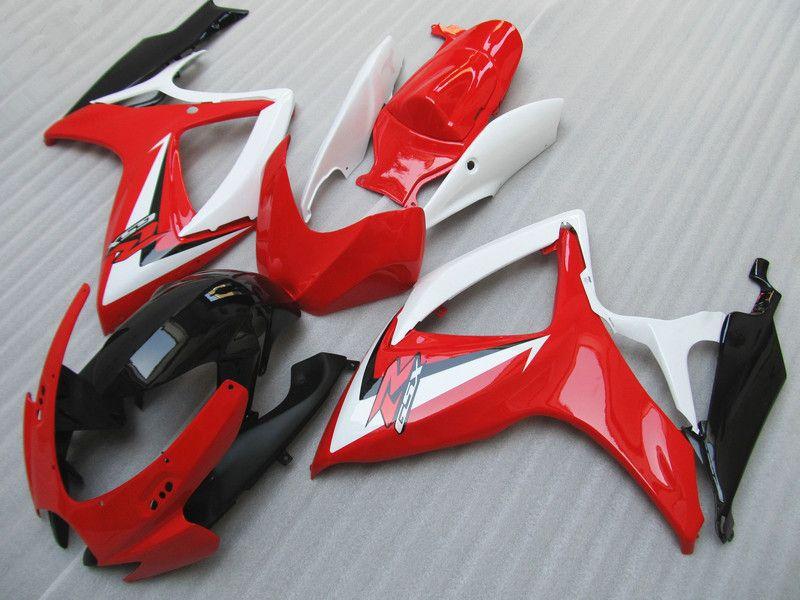 Apto para Suzuki GSXR 600 750 carenagens GSX-R600 R750 2006 2007 Red branco Carenagem kit 06 07 GSXR600 GSXR750 livre personalizado de alta qualidade