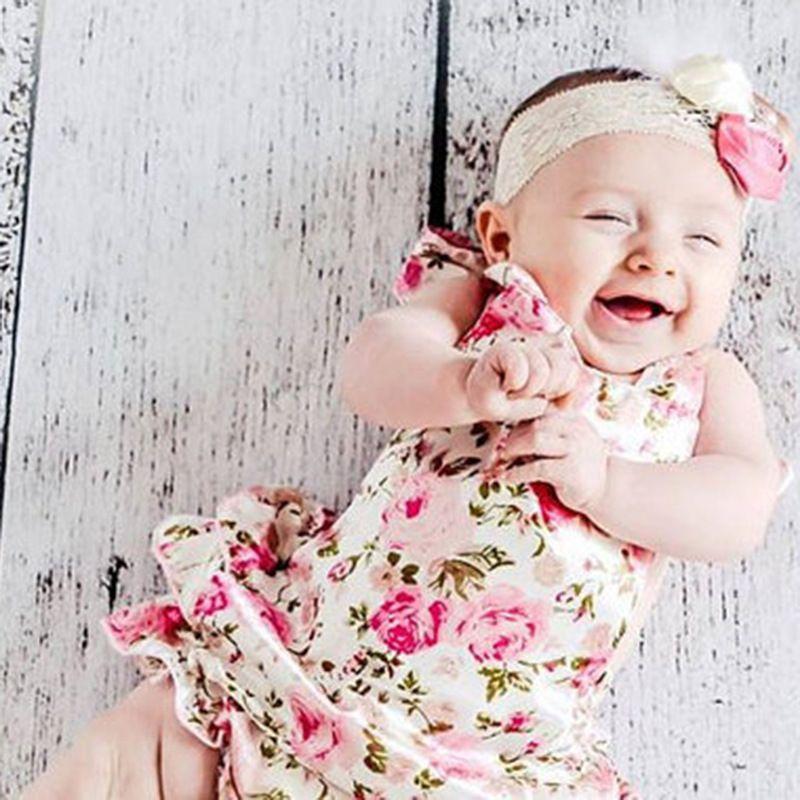 53a3dbaee68 2019 Baby Girl Kids Infant Toddler Lace Romper Flower Romper Floral Romper  Vintage Romper Pettiskirt Romper Tutu Skirt Romper Princess Jumper From ...
