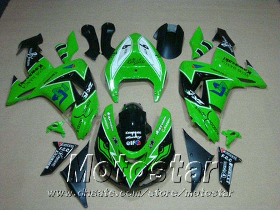 Injection molding ABS fairing kit for Kawasaki ninja fairings ZX10R 2006 2007 06 07 ZX 10R green black motobike set JU14