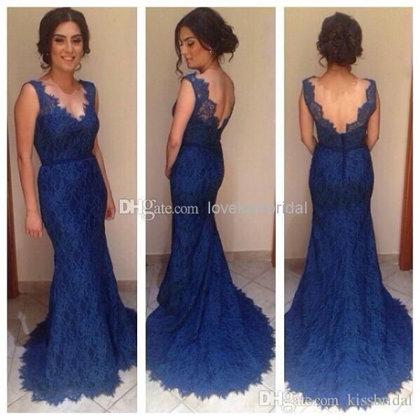 로얄 블루 레이스 이브닝 드레스 브이 넥 백리스 머메이드 스위프 기차 정장 가운 신부 드레스