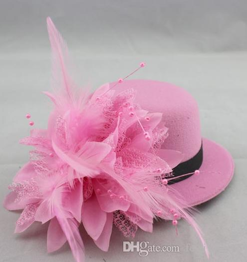2016 Fashion bride hat cap wedding ribbon gauze lace feather flower Mini top hats fascinator party hair clips caps millinery hair jewelry