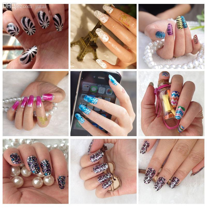 Wholesale-Easy DIY Golden Lace Floral Hot Transfer Gold Glitter Nail ...