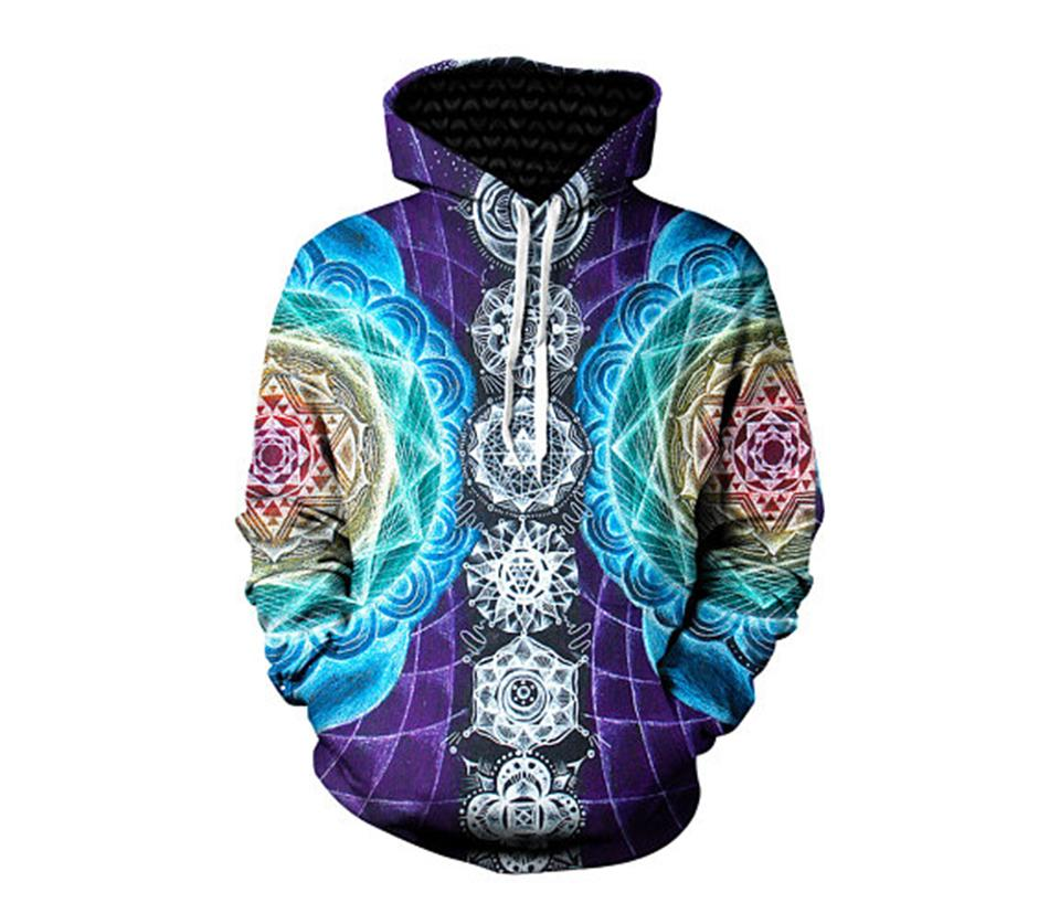 28e9a9c36ca 2019 Wholesale UIDEAZONE Hoodies Trippy Visionary Artwork Rainbow Mandala  Chakra Art Sublimation Print Hoodies Men Plus Size 3XL From Ario