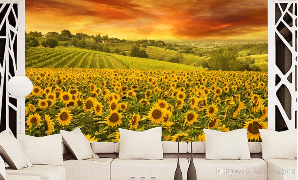 kitchen vinyl wallpaper Beautiful romantic sunflower dream music notes TV backdrop wall decoration
