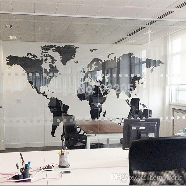 new black map of the world wall sticker office background wall decal