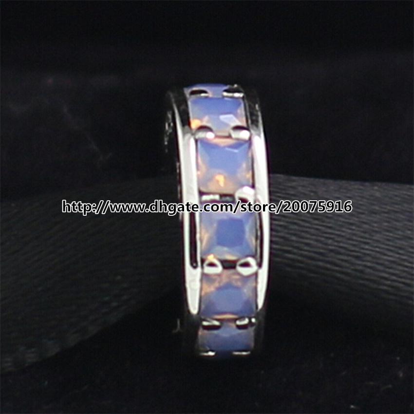 925 Sterling Silver Eternity Spacer Charme Bead com Cz Opalescente Branco Serve Para Pandora Europeia Estilo Jóias Pulseiras Colares Pingente