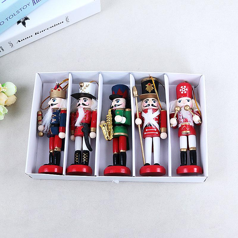 5 PCS Nutcracker Puppet Zakka Creative Desktop Decoration 12cm Wood Made Christmas Ornaments Drawing Walnuts Soldiers Band Dolls