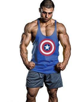 Capitan America Palestra Abbigliamento Cotone Uomo Canotta Canotta Canotta Bodybuilding Gilet Esercizio Fitness Abbigliamento Uomo Camicie senza maniche Stringer