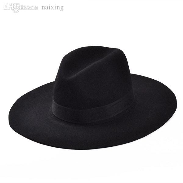 2019 Wholesale Fashion Vintage Lady Girls Wide Brim Wool Felt Fedora Hat  Black Floppy Cloche af4502a65ae