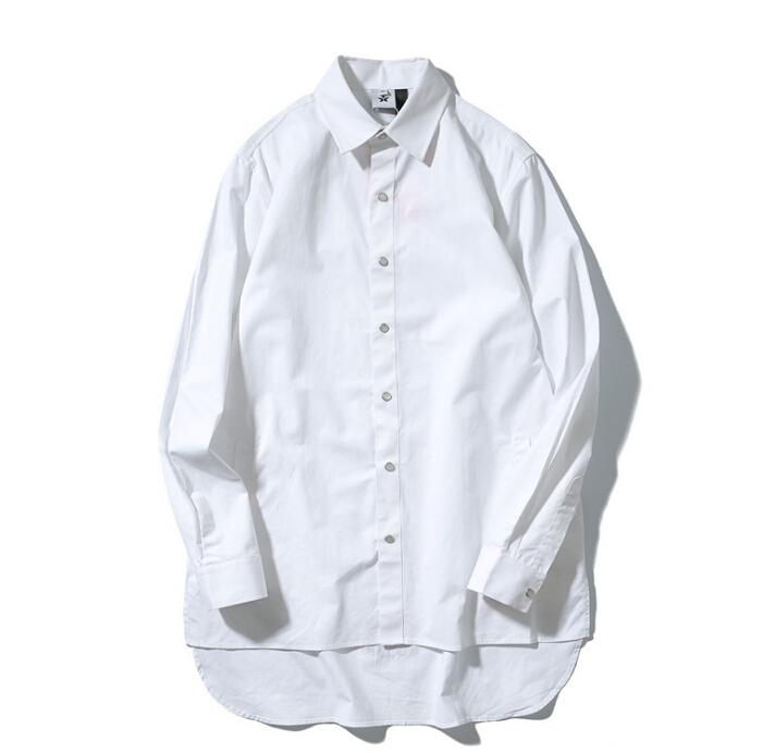 Roupa dos homens Camisas de Rua Principal Cor Sólida Oversize Solto Único Breasted Camisa Frente Curto Voltar Longo Irregular Tops Roupas de Primavera Outono