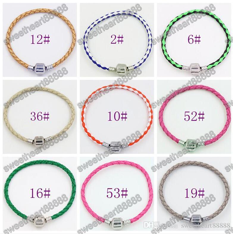 Einzelne 925 Silber Verschluss Leder Armbänder Ketten für Pandora Armbänder 17cm 19cm 21cm / Armband passende europäische Charme-Perlen