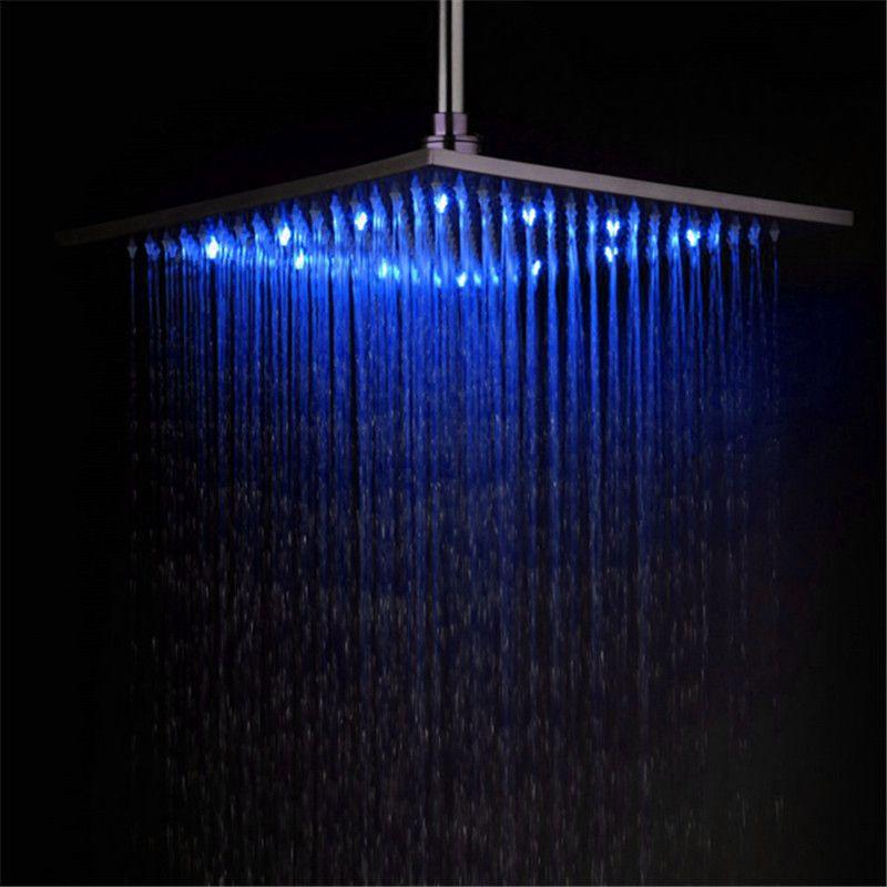 2018 Led Light 16 Inch Rainfall Shower Head Bathroom Square Top Sprayer Oil  Rubbed BronzeBlack Ld8030 D8 From Lanbojiaju, $50.26 | Dhgate.Com
