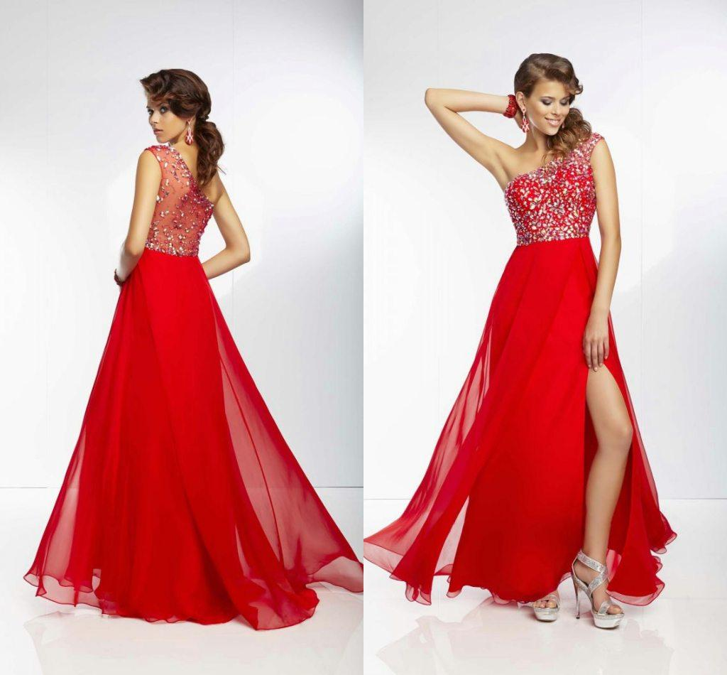 Hot Sale Cheap Prom Dresses Illusion Split Side One Shoulder Young ...