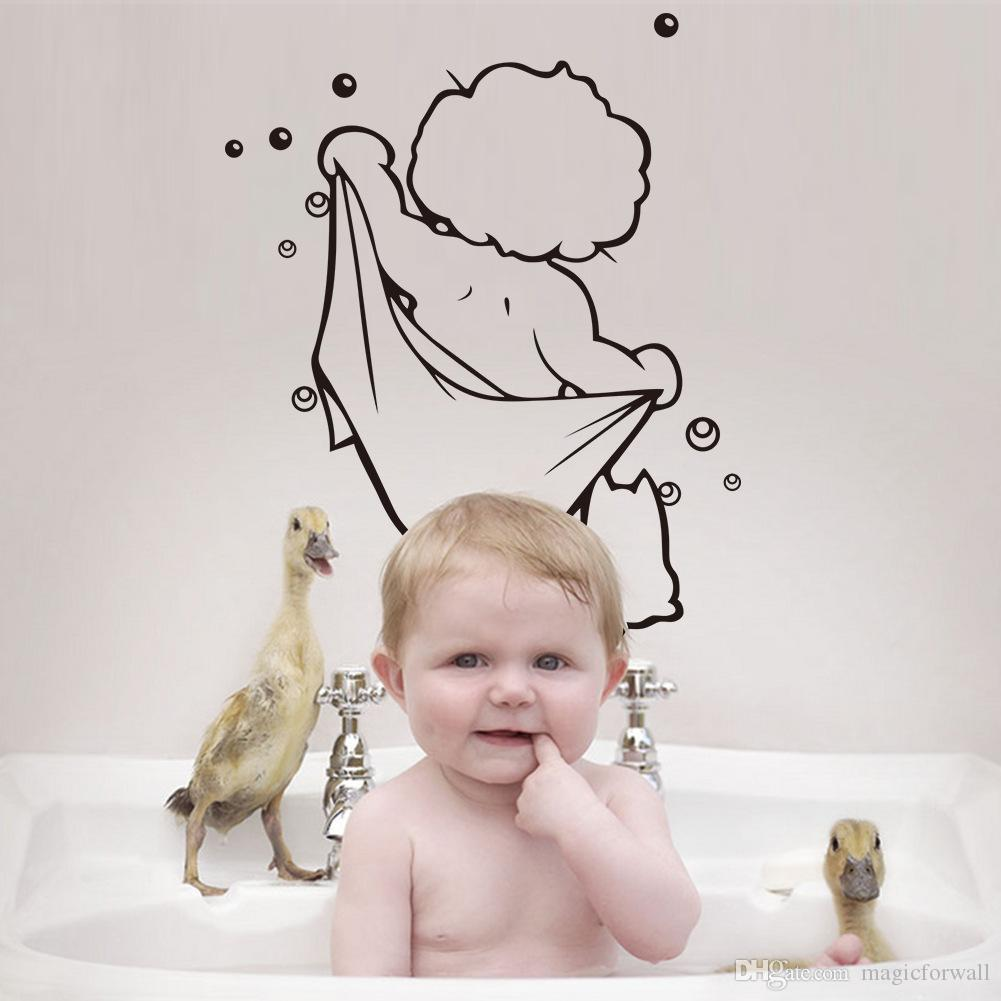 Naked Boy with Bath Towel Wall Art Mural Decor Bath Room Shower Room Decoration Bathing Boy Wallpaper Decal Funny Naked Boy Art Decor Poster
