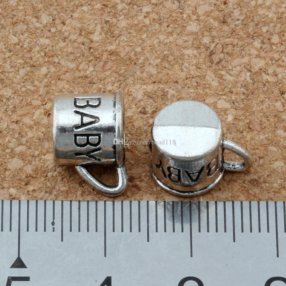 100st Antik Silver Zink Alloy 3d Baby Cup Charms Pendants för smycken gör armband Halsband DIY Tillbehör 12x9mm
