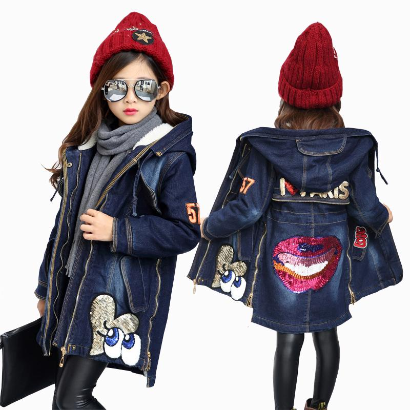 19f1a1196 2017 New Winter Kids Girls Denim Jacket Children Plus Thick Velvet ...