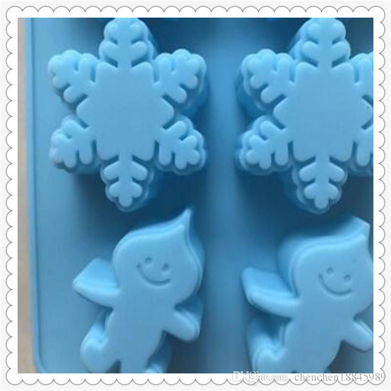 8 cavity Snowflakes raindrops Flexible Silicone Soap Mold For Handmade Soap Candle Candy bakeware baking moulds kitchen tools ice molds