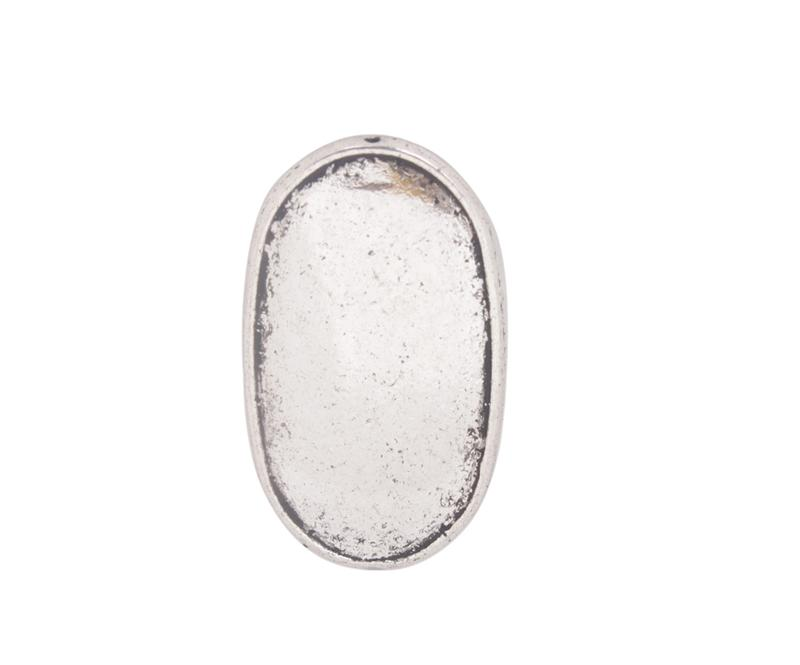 Antiqued Silver Flat Oval Metal Beads #91429