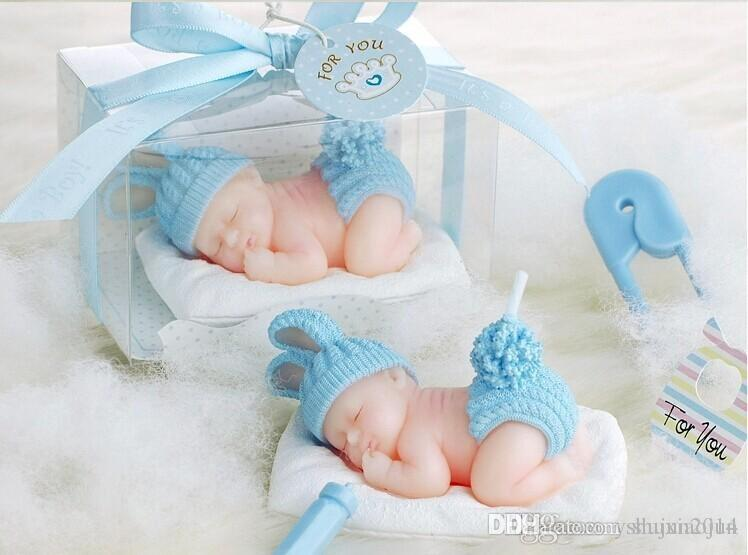 2015 New 3D Sleeping Baby Candles Flameless Candles Baby Birthday Party Baby  Shower Favors Red Blue Color Free Shipping
