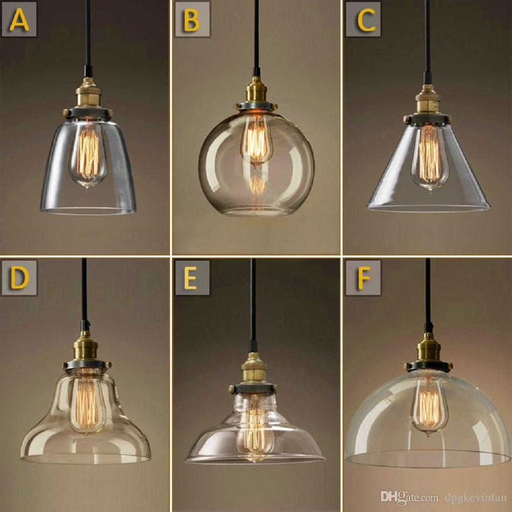 clear table lamp fittings antique edison shades lighting glass cone billiard hardware shop light pendant brass