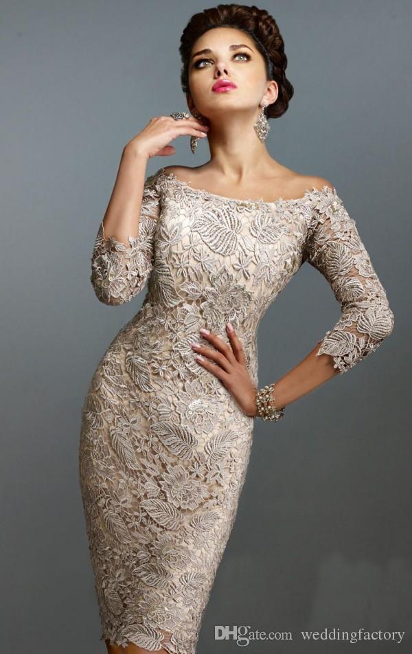 Wspaniała Matka Dresses Of Dresses Off Off The Ramię 3/4 Długie Rękawy Długość Kolana Krótkie Wedding Party Suknie Gościnne Custom